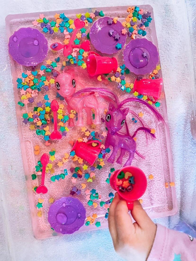 Unicorn tea party sensory play bin for kids