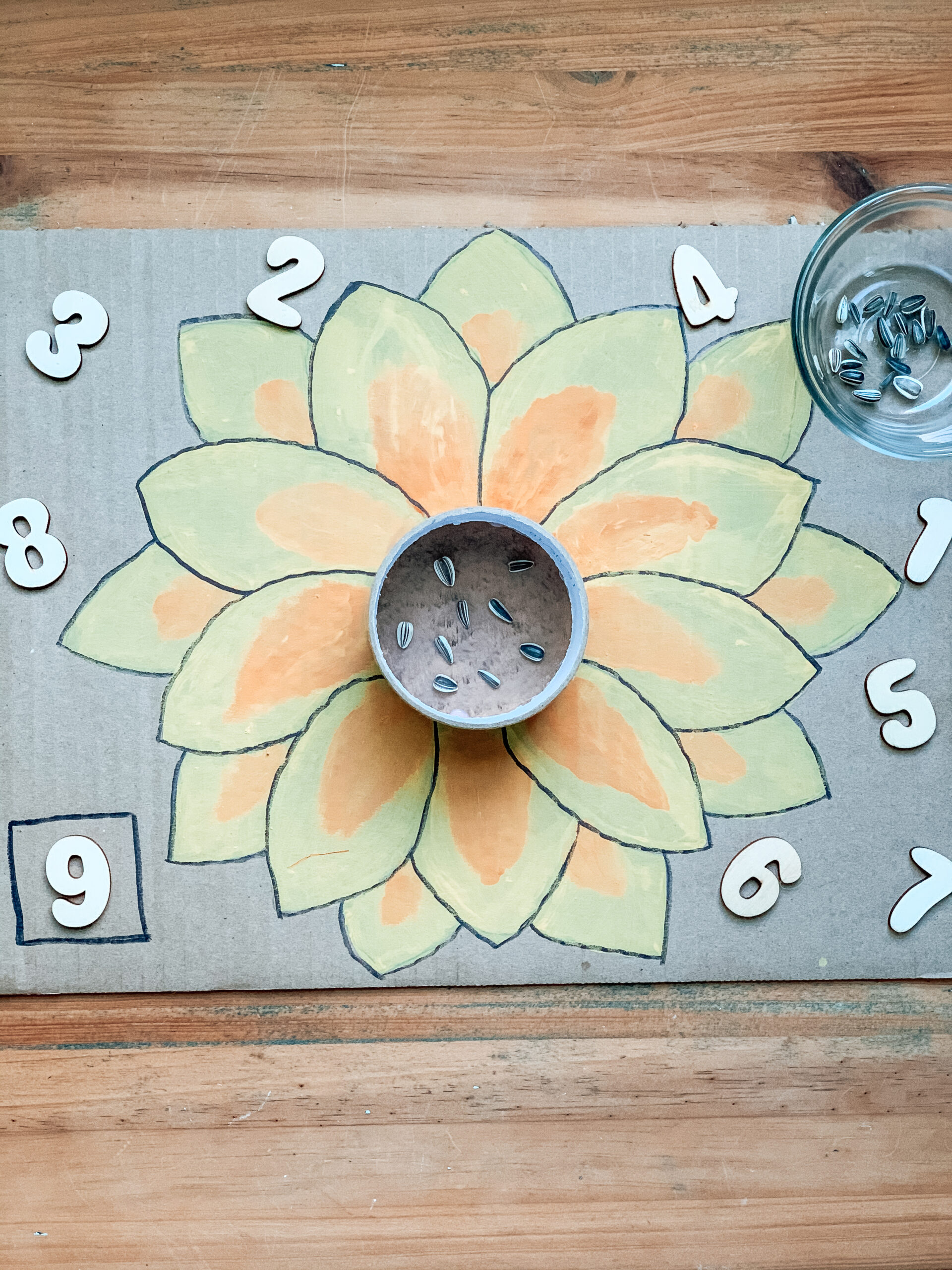 Sunflower seed counting kids activity