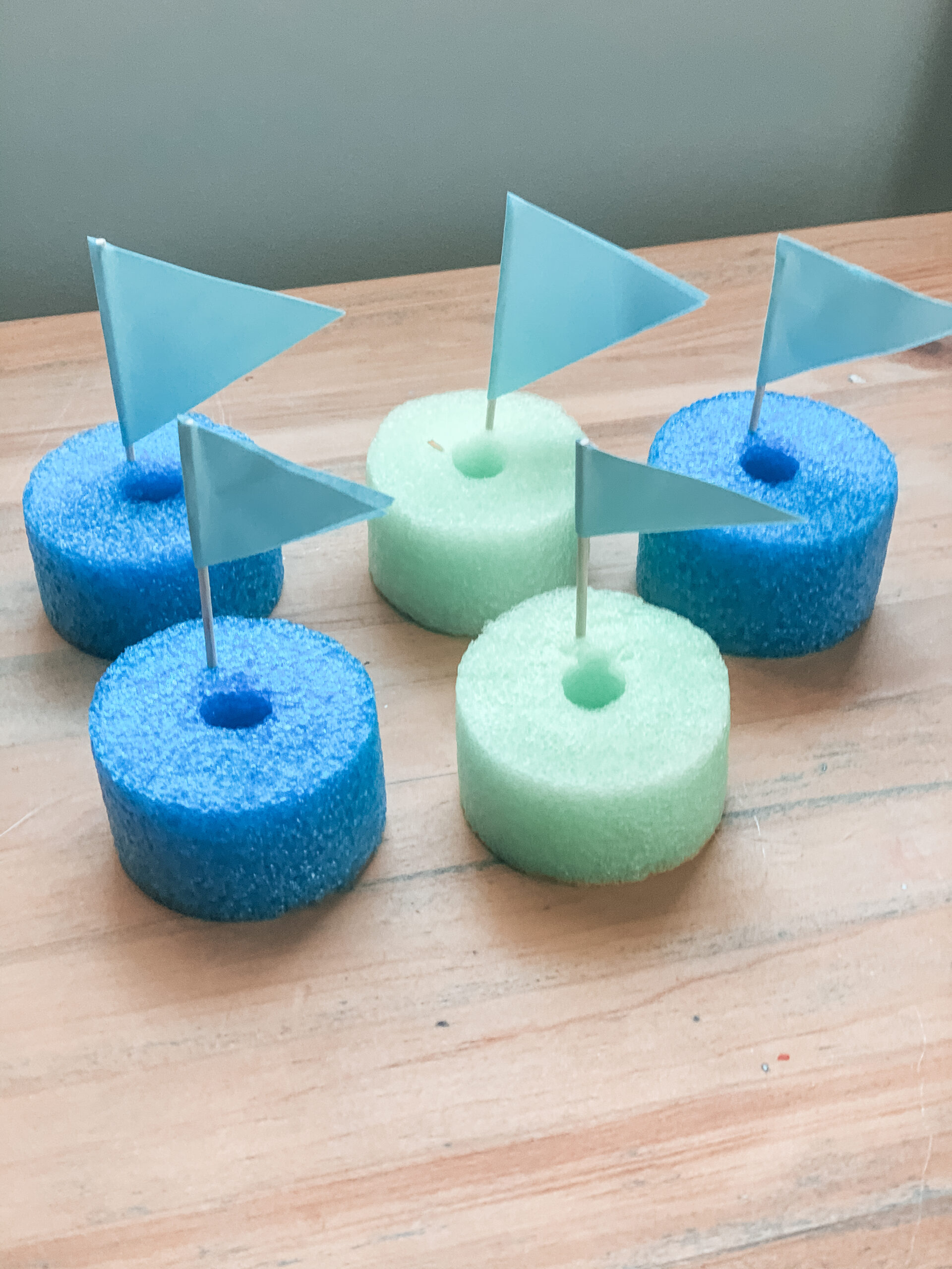 Toy boats for kids made of pool noodles