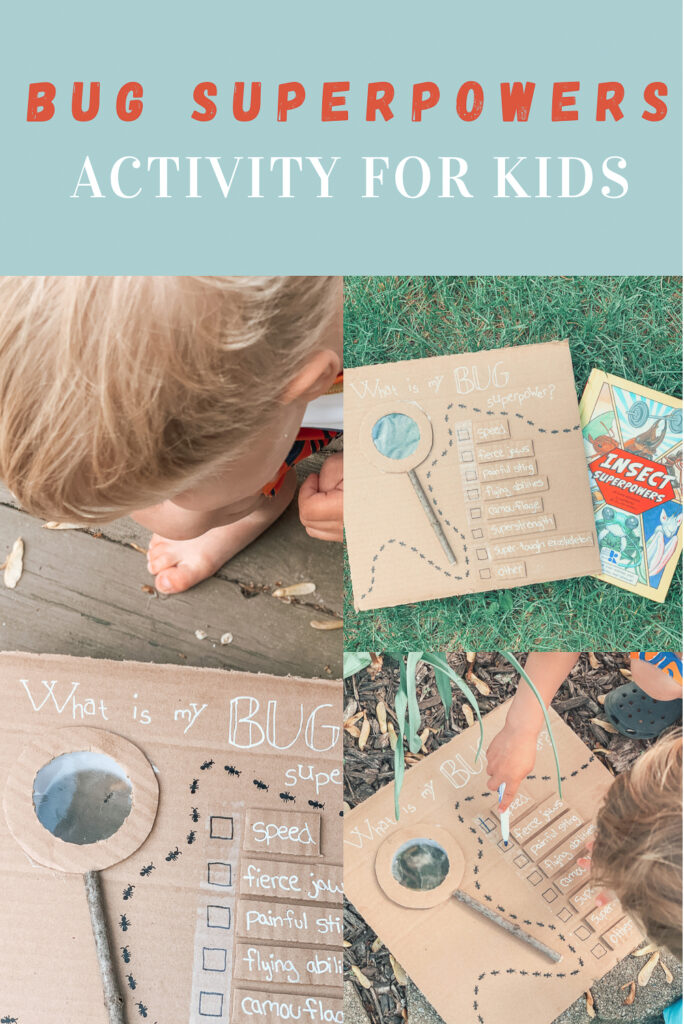 bug superpower kids activity. Made from repurposed cardboard