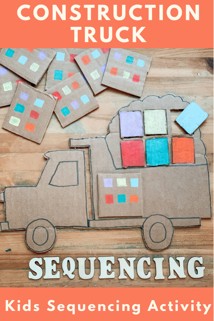 Construction truck sequencing activity for kids. DIY cardboard activity