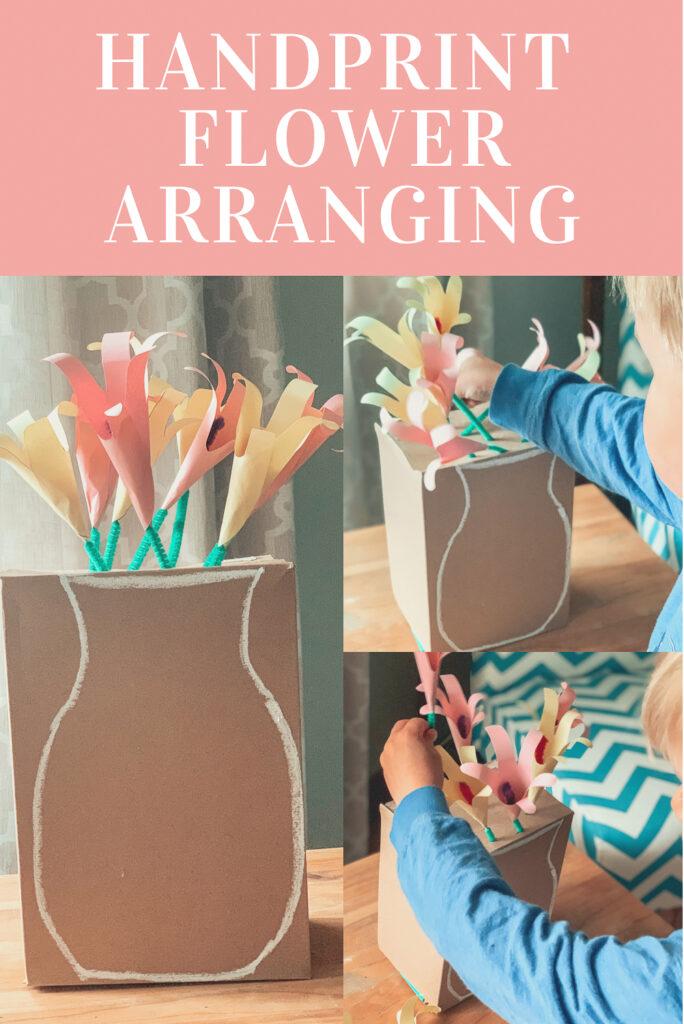 Handprint flower arranging activity for kids