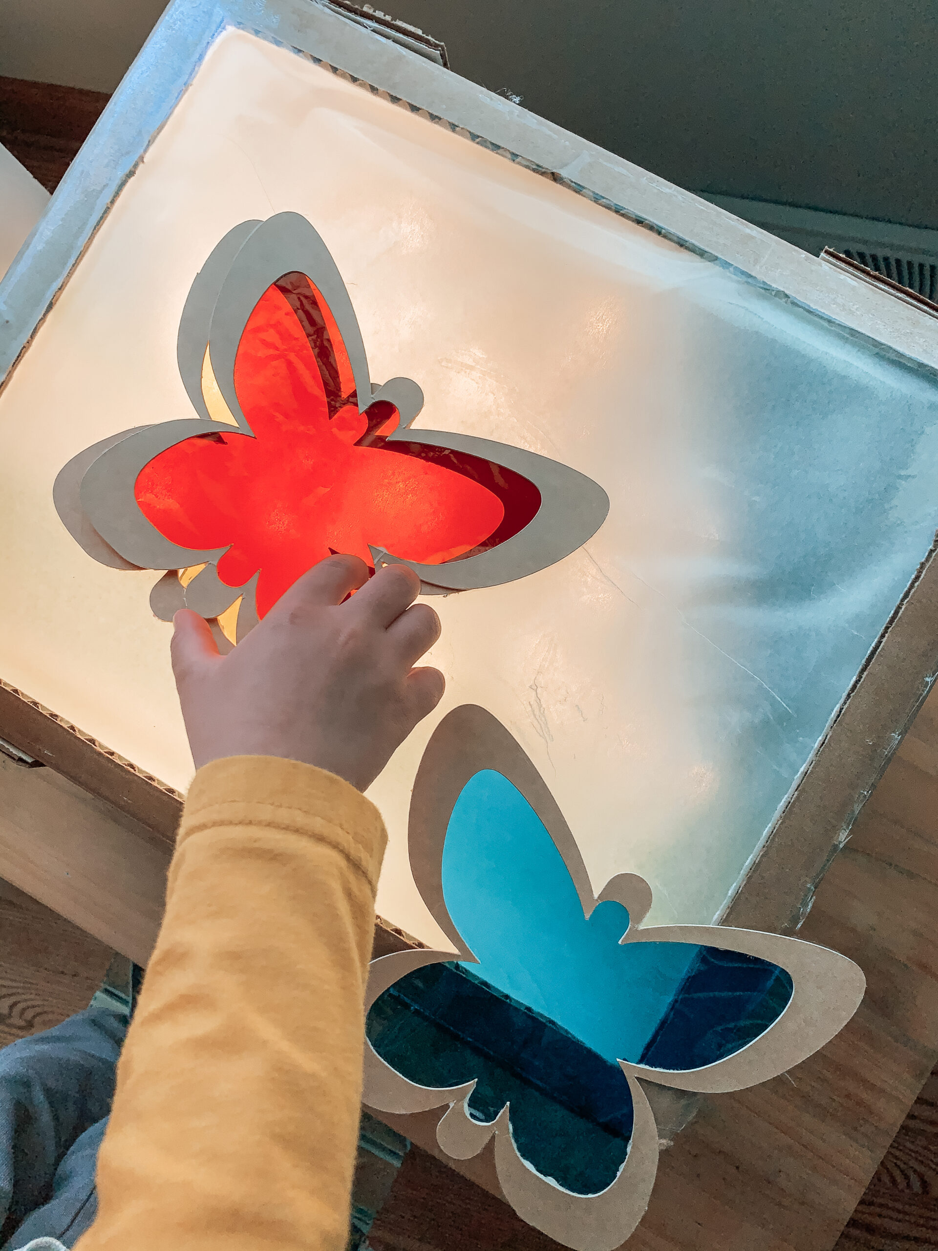 DIY light table for kids color mixing activities