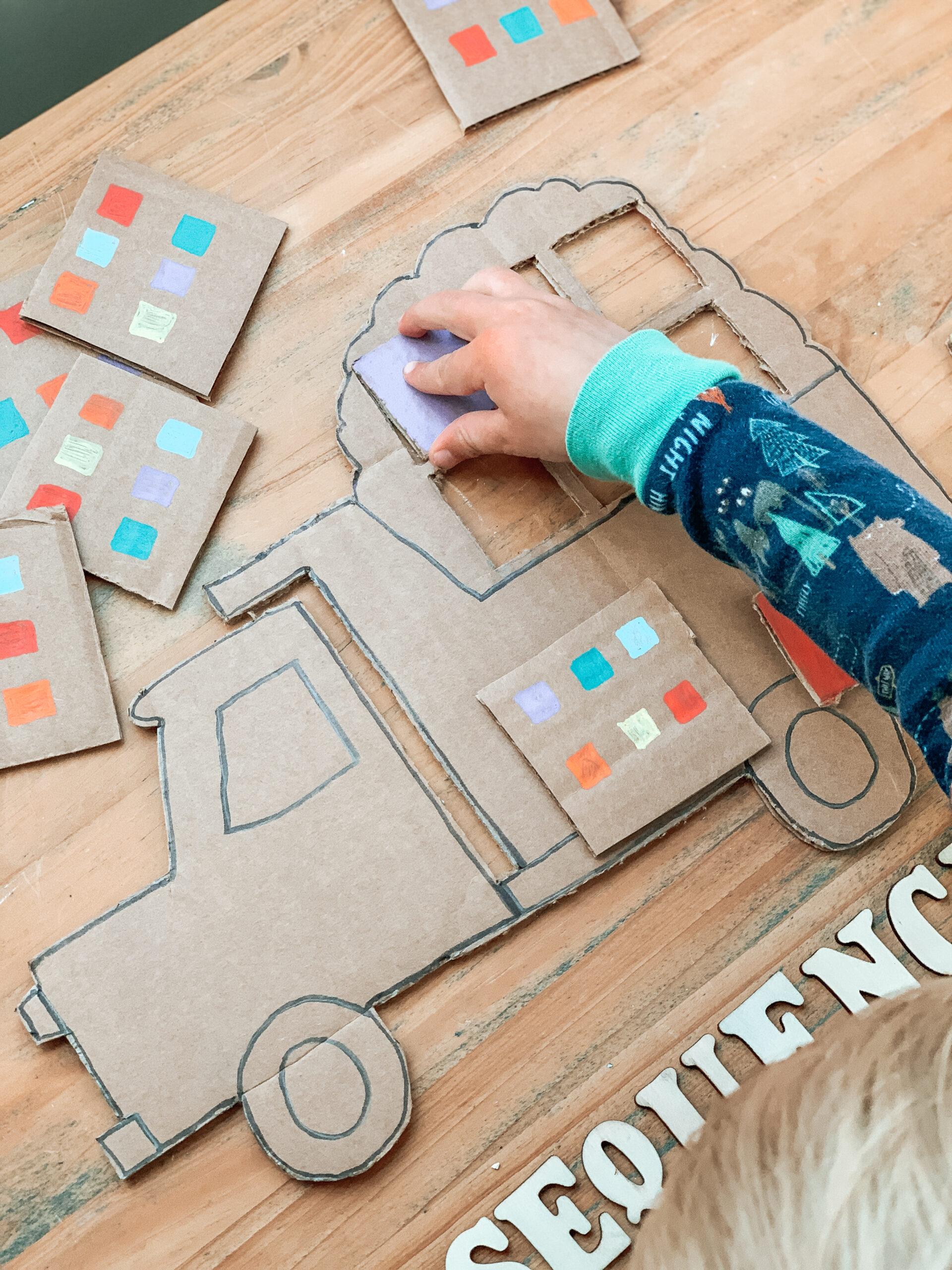 kids construction truck color activity