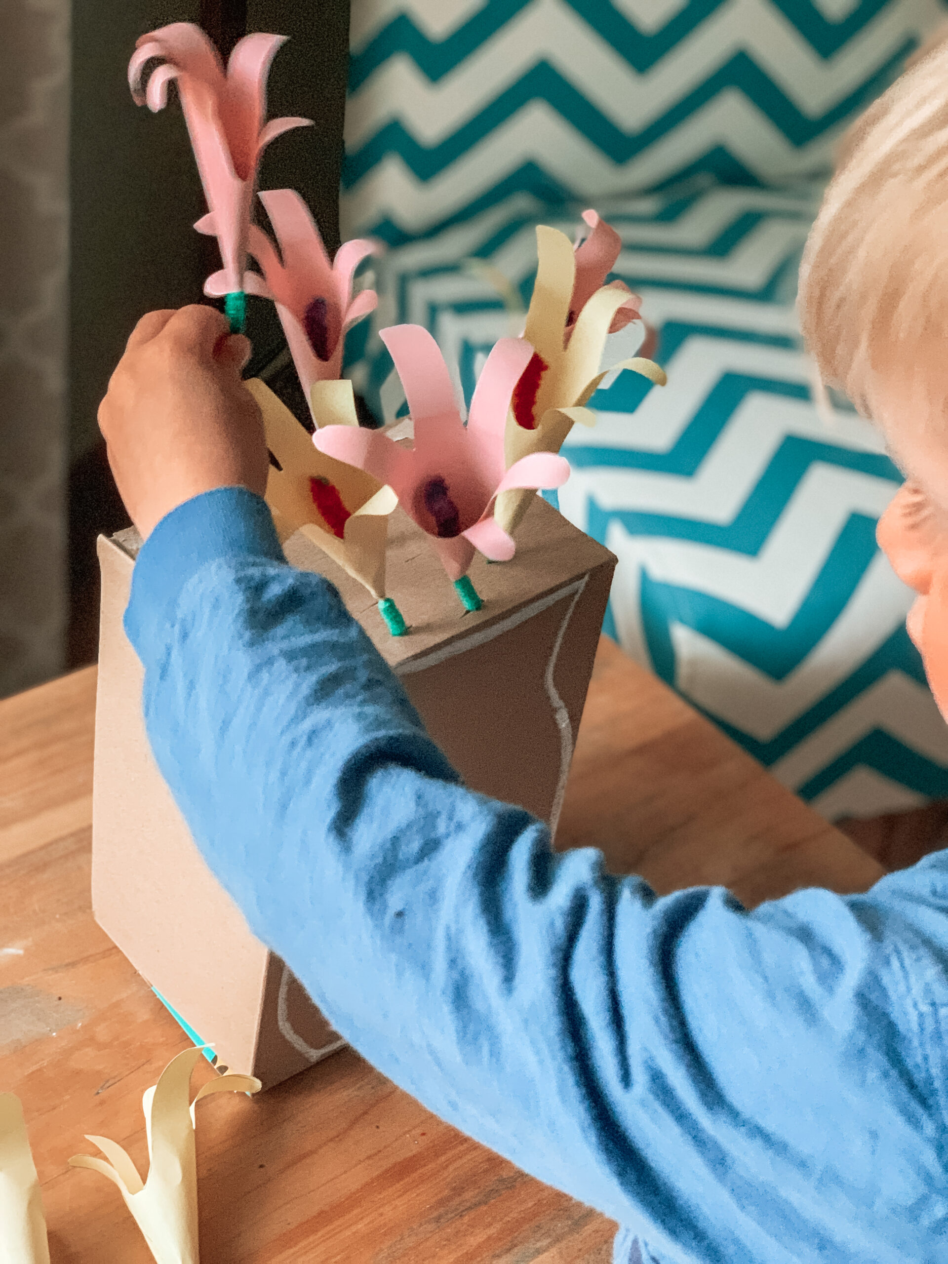 Flower arranging activity and craft for kids