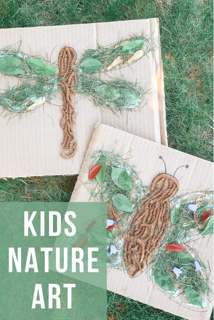 kids nature art activity made with repurposed cardboard