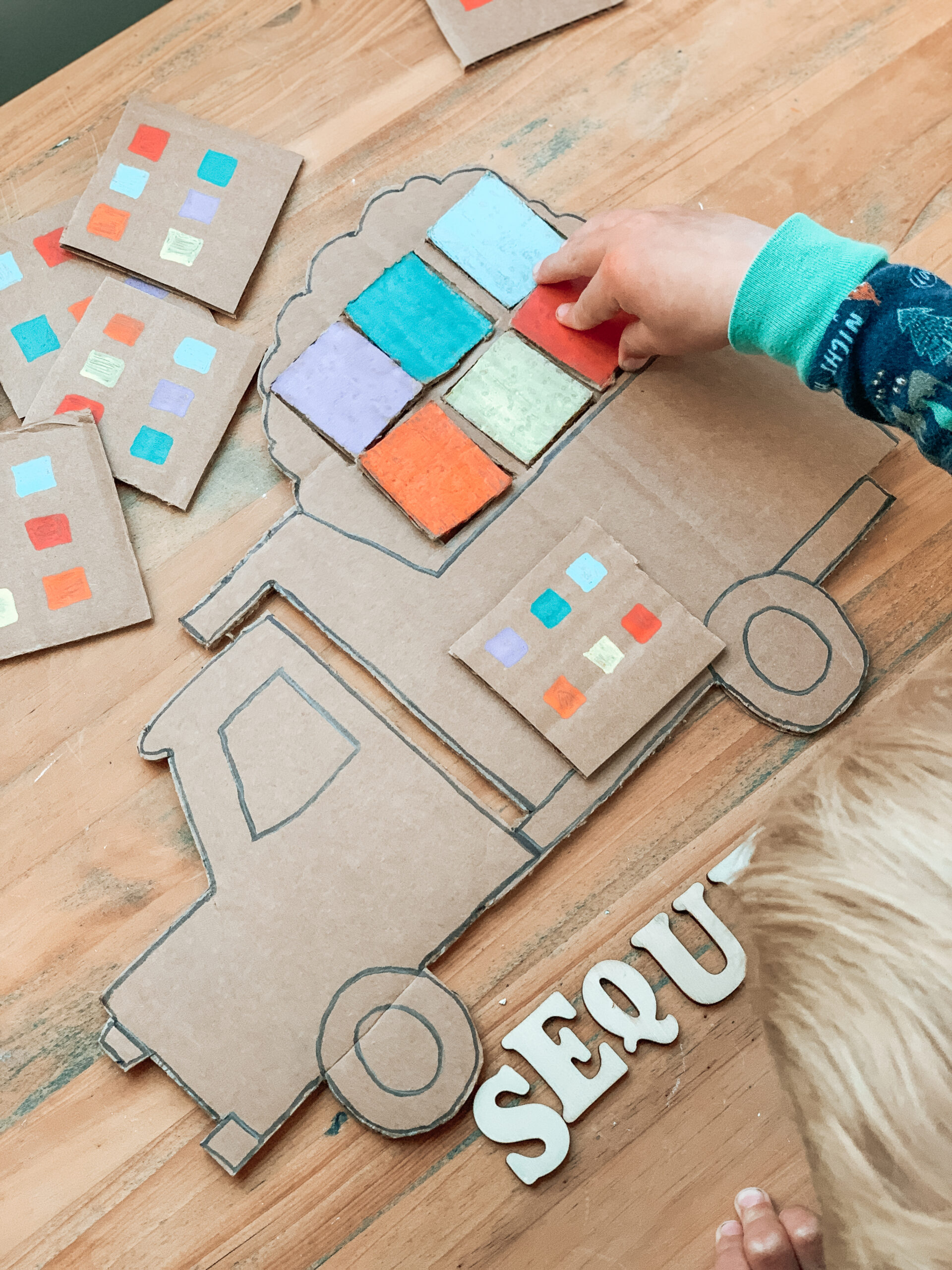 kids sequencing construction truck