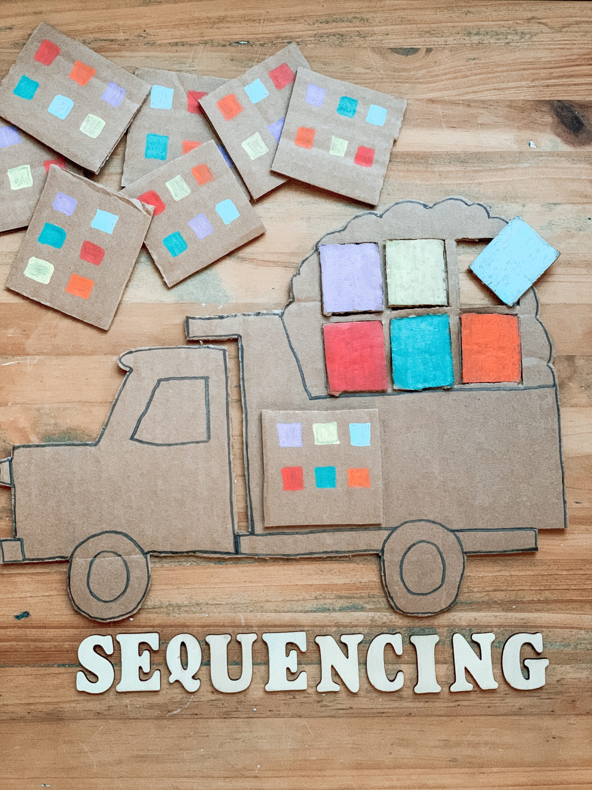 sequencing construction truck activity for kids