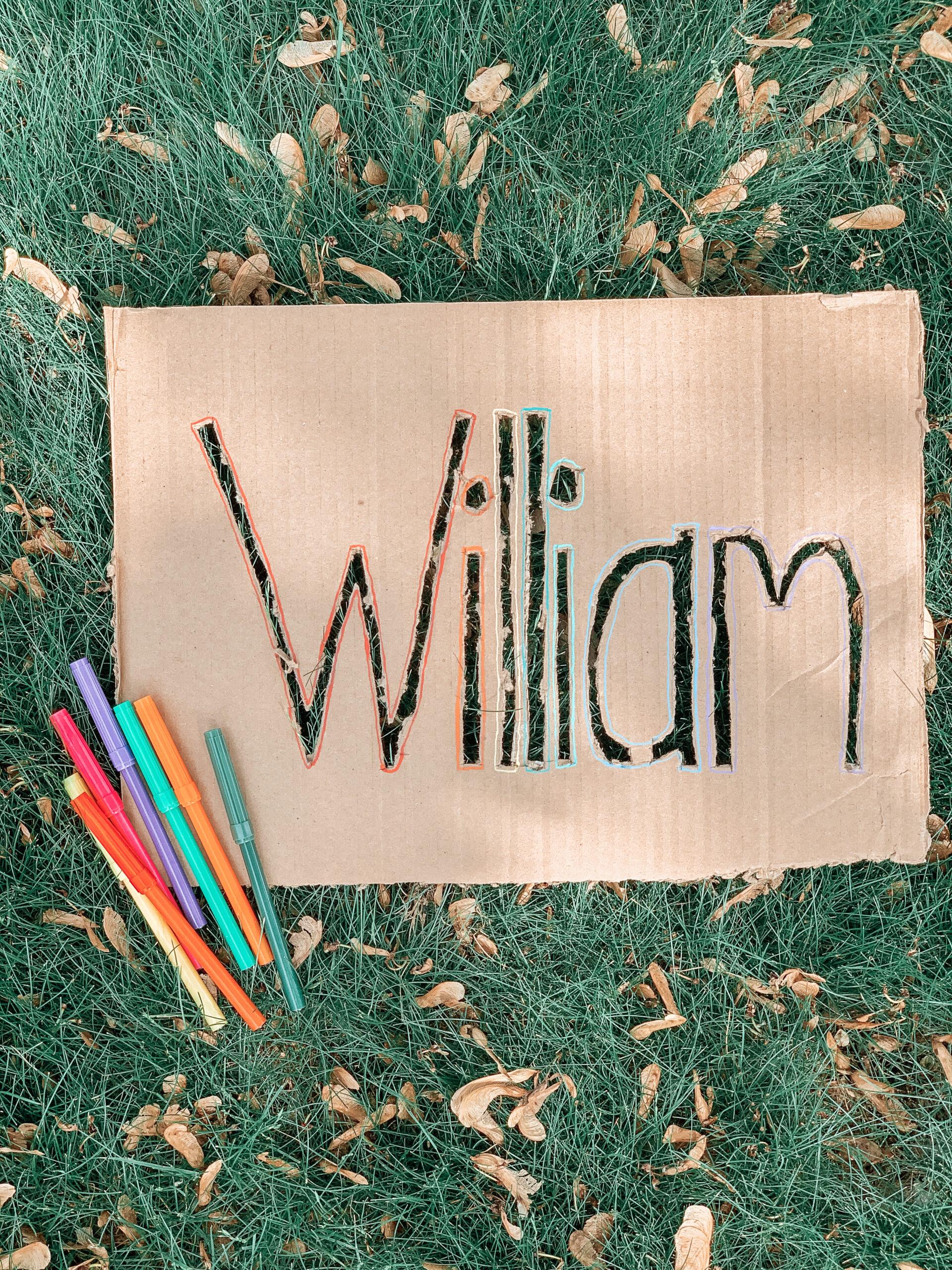 DIY cardboard name stencil for kids